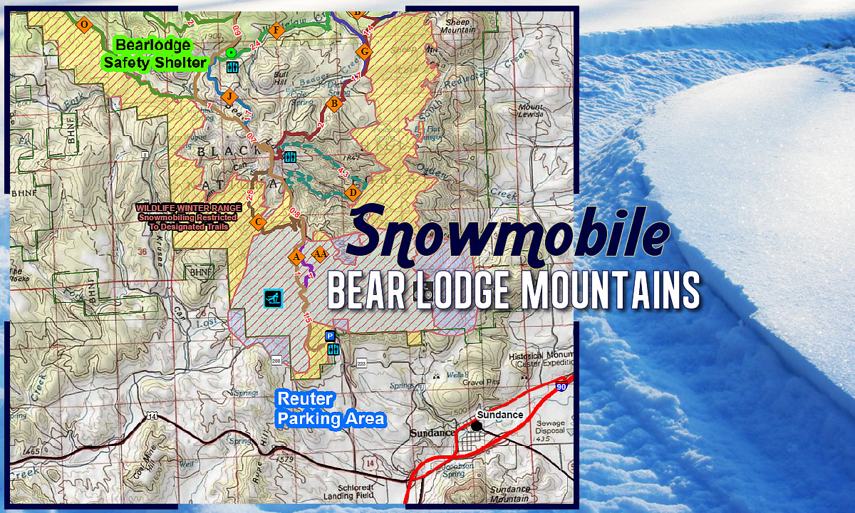 Snowmobile the Bear Lodge Mountains